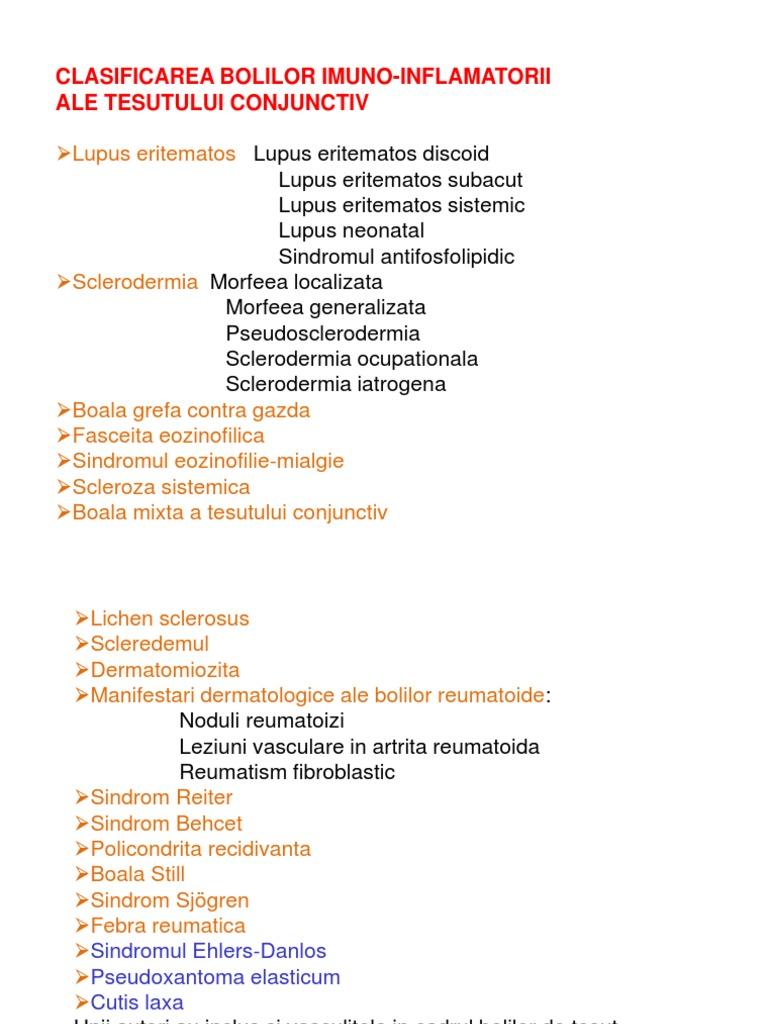 clasificarea boala țesutului conjunctiv sistemic tratamentul artrozei vertebrale costale